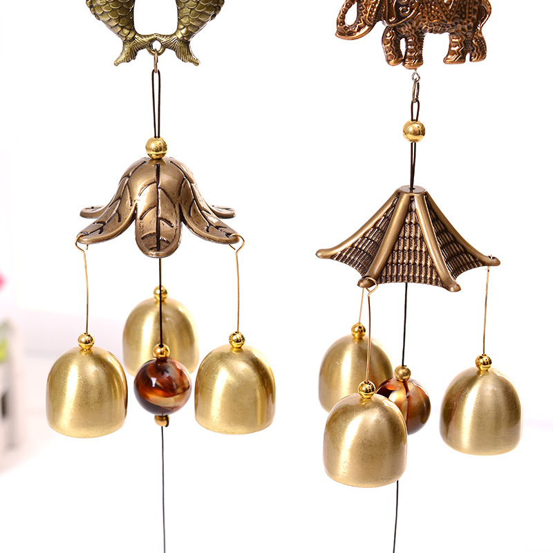 Antique Wind Chime Copper Yard Garden Outdoor Living Decoration Metal Wind Chimes Outdoor Chinese Oriental Lucky Metal Wind Bell(China)