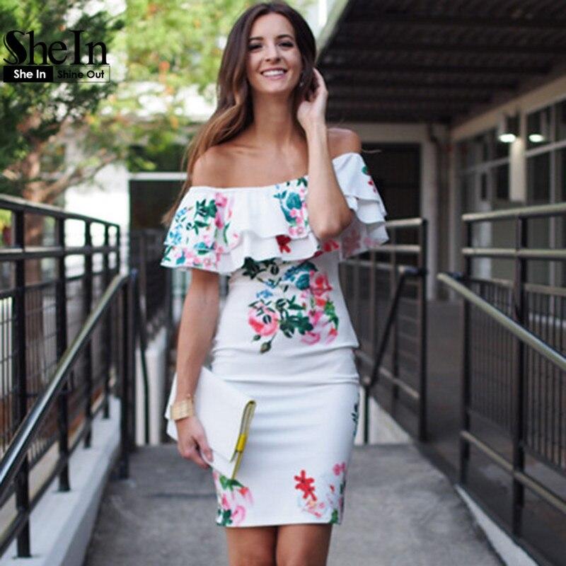 Shein señoras del verano atractivo de la envoltura vestidos para mujer multicolo