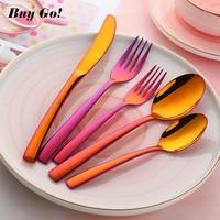 20/30PCS Stainless Steel Luxury Cutlery Set Orange Red Flatware Sets Rainbow Gold Knife Salad Fork Teaspoon Tableware Set C167
