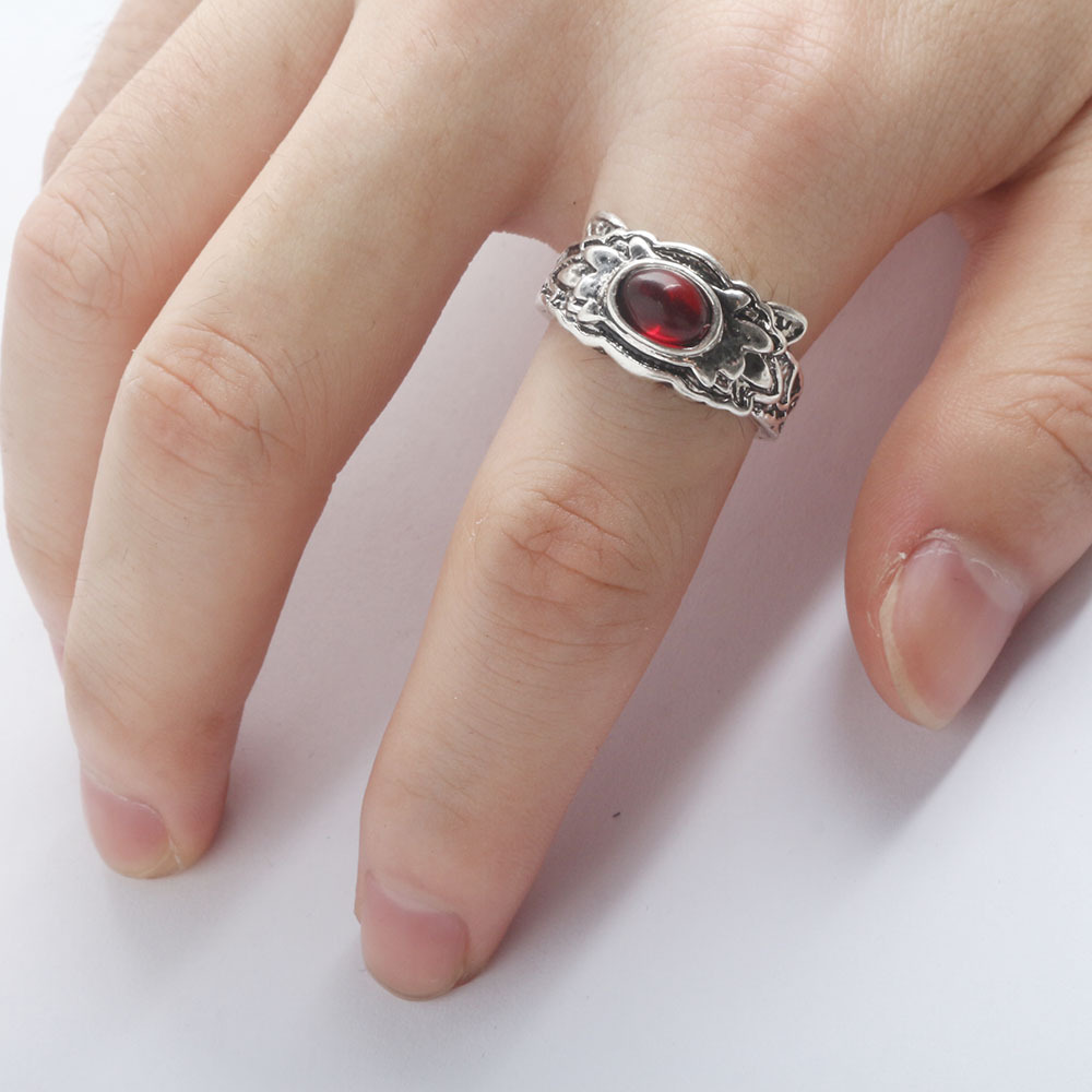 Newest Dark Souls 3 Life Ring Red Crystal Stone Rings for Women Men Jewelry Best Friend Gift image