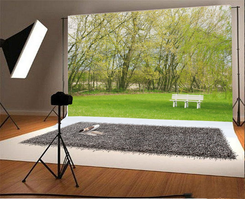 Laeacco Spring Green Tree Grass Bench Outdoor Scenic Photographic Backgrounds Customized Photography Backdrops For Photo Studio