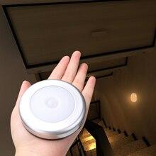 6led pir sensor de movimento ativado luz da parede alimentado por bateria luz noturna lâmpada indução armário do corredor led sensor luz