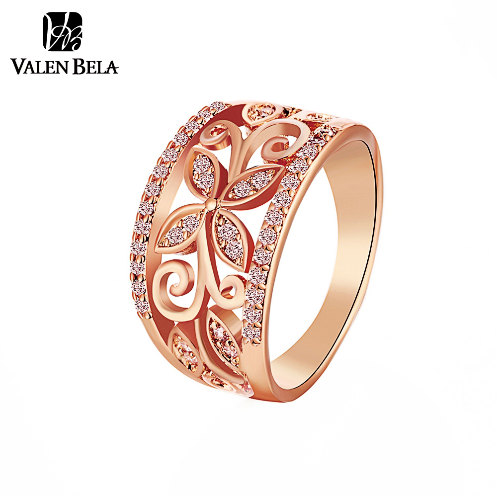 VALEN BELA Rose Gold Flower Cubic Zirconia Rings Women Size 6, 7, 8, 9 Female Gold Color Wedding Ring Jewelry Wholesale JZ5167