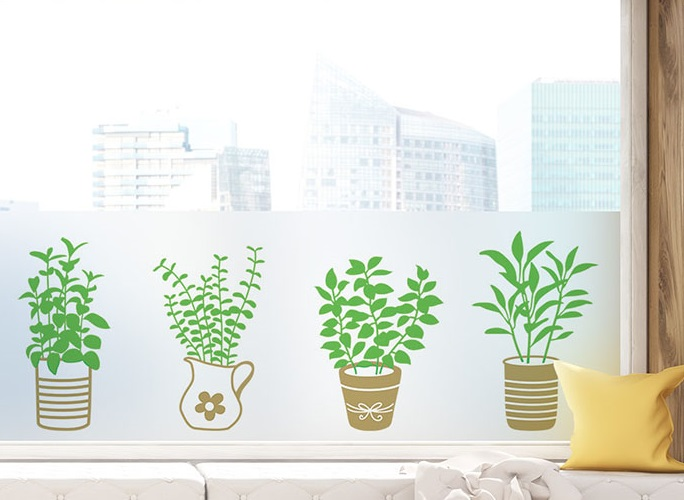 Non-adhesive Window Film Long-lasting Quick DIY 60 x 200 cm Easily Remove Flowerpot Grass Decoration Sticker