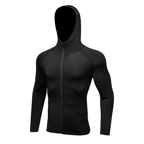 YEL, Спортивная мужская рубашка с длинным рукавом, шапка+ молния, женские футболки для бега, спортивная одежда для спортзала, спортивный топ, мужская спортивная одежда, Рашгард - Цвет: black