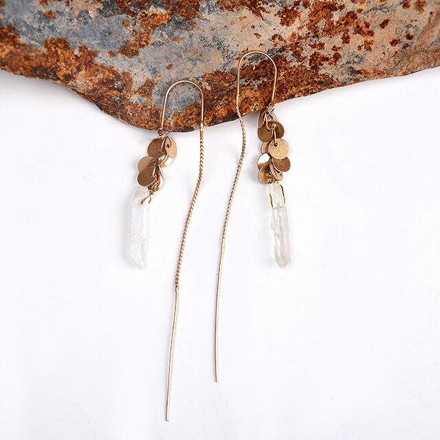 ДИКИЕ и СВОБОДНЫЕ Женщины Винтаж Природный Камень Серьги Античный Позолоченные Длинные Уха Линия Лист Кулон Мотаться Серьги Ювелирные Изделия
