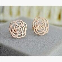 ed86ea4a08cf Pendientes de flor de Camelia ahuecados de color oro rosa brincos aretes