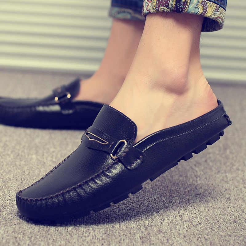 Verano hombres zapatos Casual marca de lujo hombres Penny mocasines de cuero media zapatilla Slip On italiano zapatos de conducción hombres mocasines