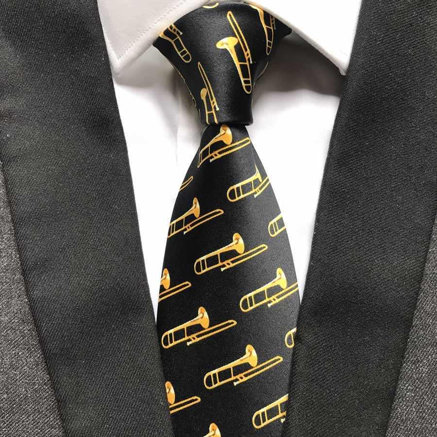 2019 yeni tasarım erkekler müzik kravat trompet desen müzisyen konser bağları