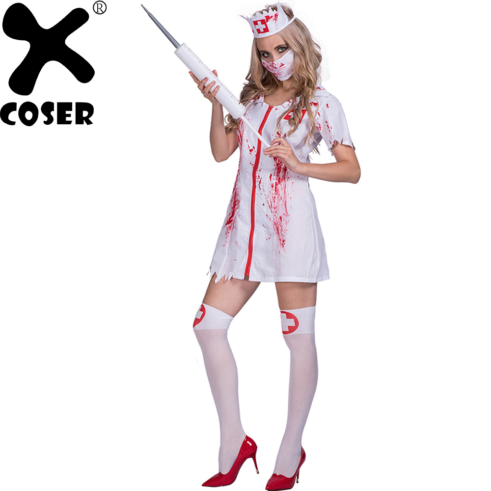 XCOSER Brand New Women Blood Nurse Cosplay Costume Suit 2018 Halloween Party Female Cosplay Sets Dress & Headpiece & Mask