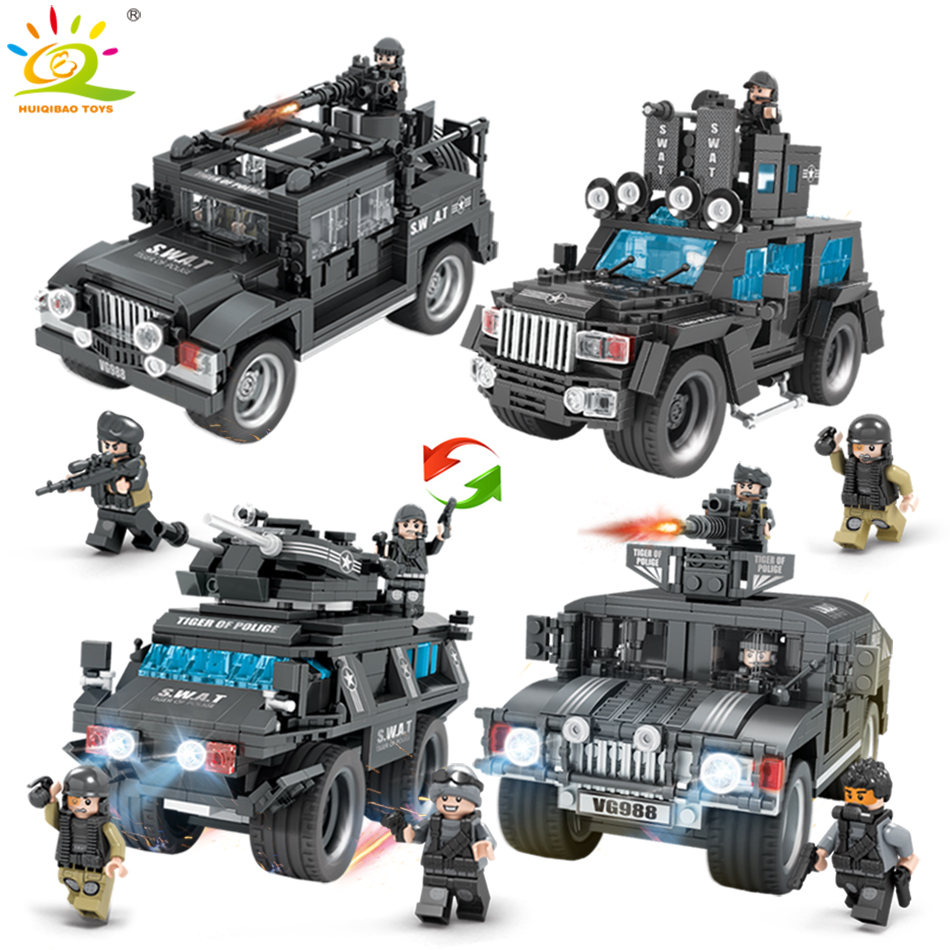 Military SWAT Police Team WW2 Trucks Building Blocks Compatible legoed army soldier Figures city Enlighten Toys for Children boy military city police swat team army soldiers with weapons ww2 building blocks toys for children gift