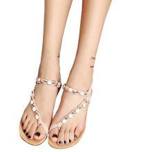 Girls's Summer season Sandals Girls Peep-toe Low Heel Beaded Bohemia Leisure Sandals Outside Flip Flops String Bead Dropshippig ma18