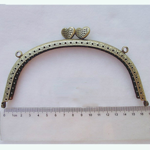 bronze color female DIY bag metal clasp purse frame arc shape with heart buckle 5pcs/lot hardware wholesale