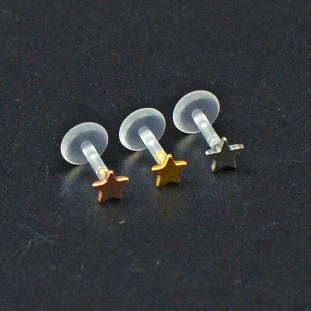 1Pc 原生体柔軟なワンタッチ Monore ラブレットリップと圧入 GemSun ムーン 16 グラム耳軟骨珠ピアスボディジュエリー