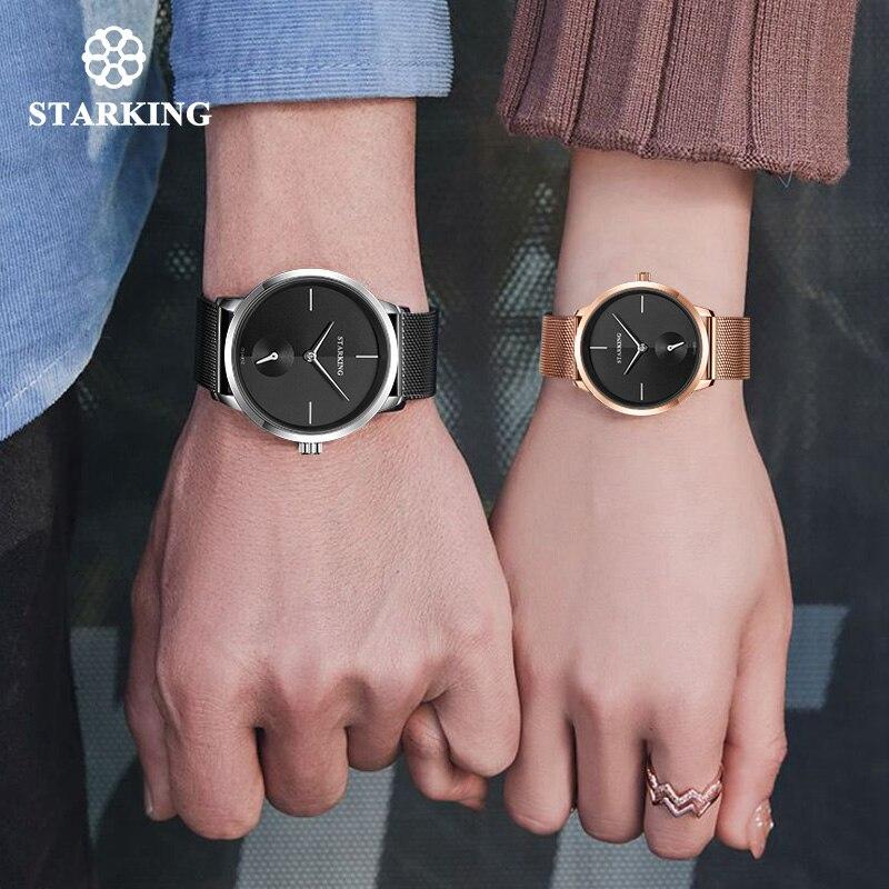 Старкинг любителей смотреть кварцевые Минимальный часы для мужчин и женщин Нержавеющая сталь сетка Группа Пары часы комплект наручные час...