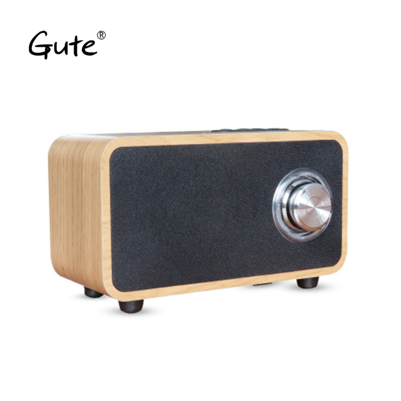 Gute Wooden Bluetooth speaker altavoz portable dual speakers metal knob woofer Radio FM TF wood enceinte puissant caixa de som remote control vibration speaker adin mini portable fm radio speaker mp3 stereo small bass hifi metal tf speaker caixa de som