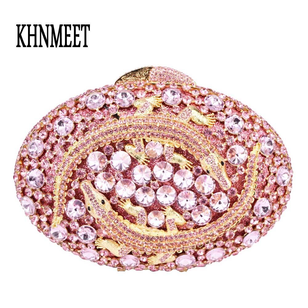 Moda krokodyl kształt owalny sprzęgła wieczór torba różowy kryształ diamentu kobiet dzień sprzęgła ślubne kopertówka Pochette torba SC550 w Torby z uchwytem od Bagaże i torby na  Grupa 1