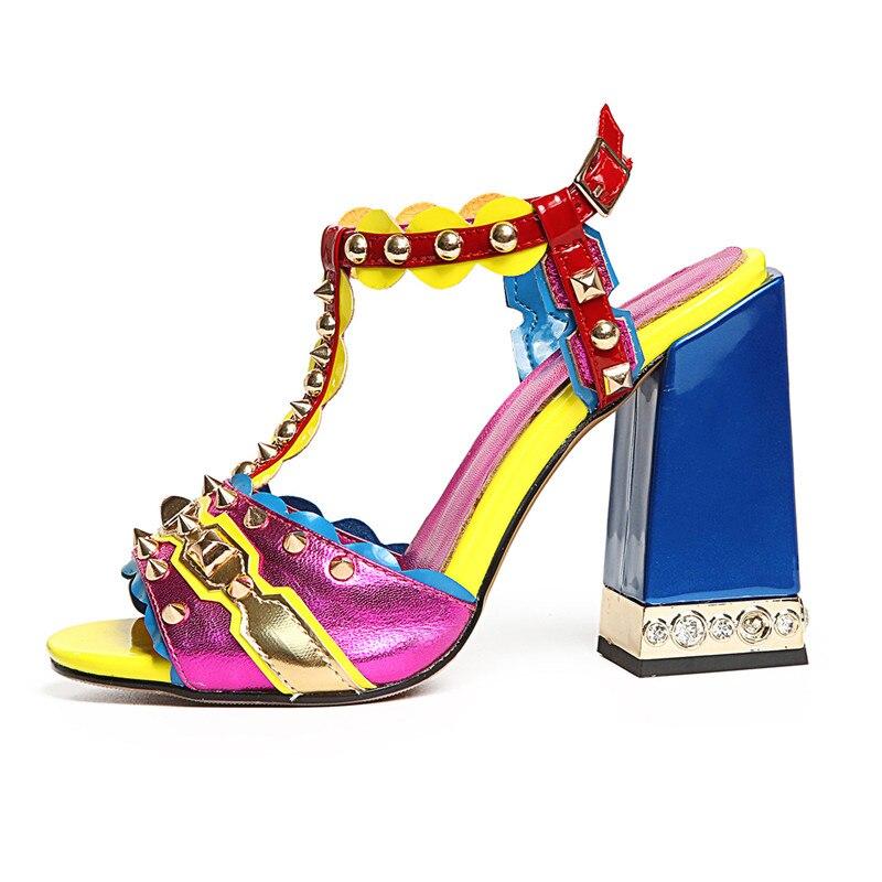 Prova Perfetto 2019 A Spillo Rivetti Perlato Tacchi Alti Sandali di Estate Scarpe Donna Sandali Gladiatore Delle Donne Pompe Sapatos Mujer-in Tacchi alti da Scarpe su  Gruppo 2