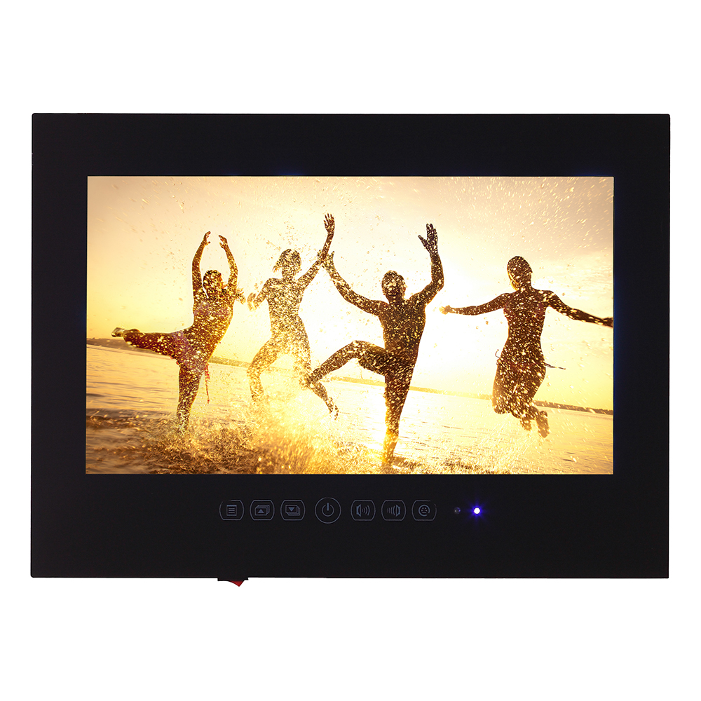"""Souria 15.6"""" Black Bathroom Waterproof LED Android 9.0 Smart Wi-Fi Shower Hidden TV Monitor Hotel Television"""