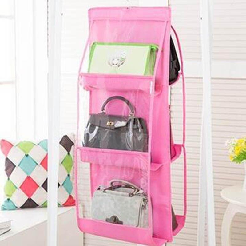 Двусторонний дизайн подвесной мешок 90 см x 35 см x 35 см шкаф для хранения спальня хранение нетканый материал двухсторонний шесть сетки - Цвет: pink