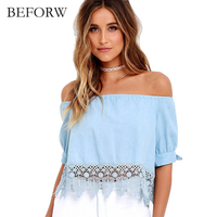 BEFORW 2017 New Fashion Women Blouses Sexy Off Shoulder Hook Flower Hollow Lace Blouse Tops Summer