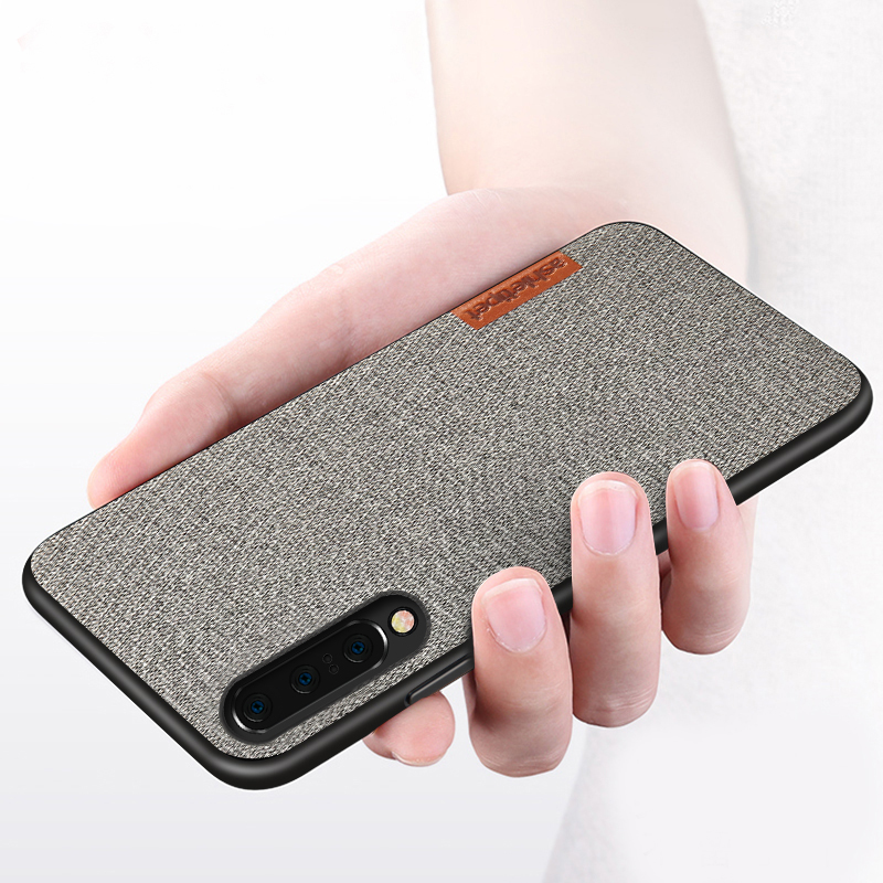 Business case for Samsung A50 case shockproof back cover cloth fabric protective silicone cases capa for Galaxy A70 A30 s10 case in Fitted Cases from Cellphones Telecommunications