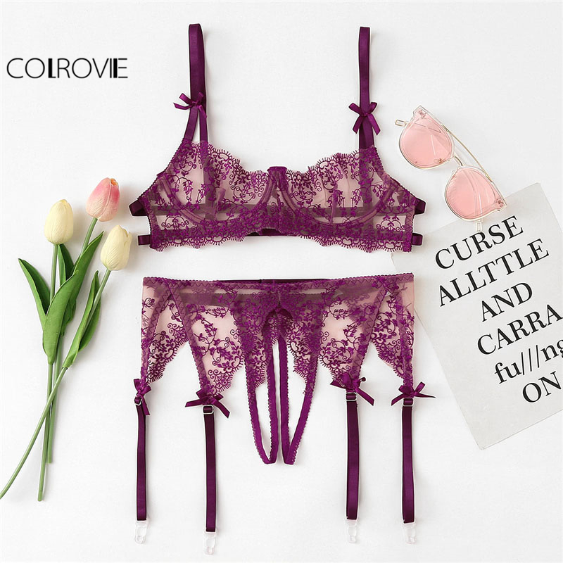 COLROVIE Purple Lace   Bra   And Open Crotch Thong And Garter   Set   Women 2019 Spring Fashion Floral Sexy Underwear Lingerie   Sets