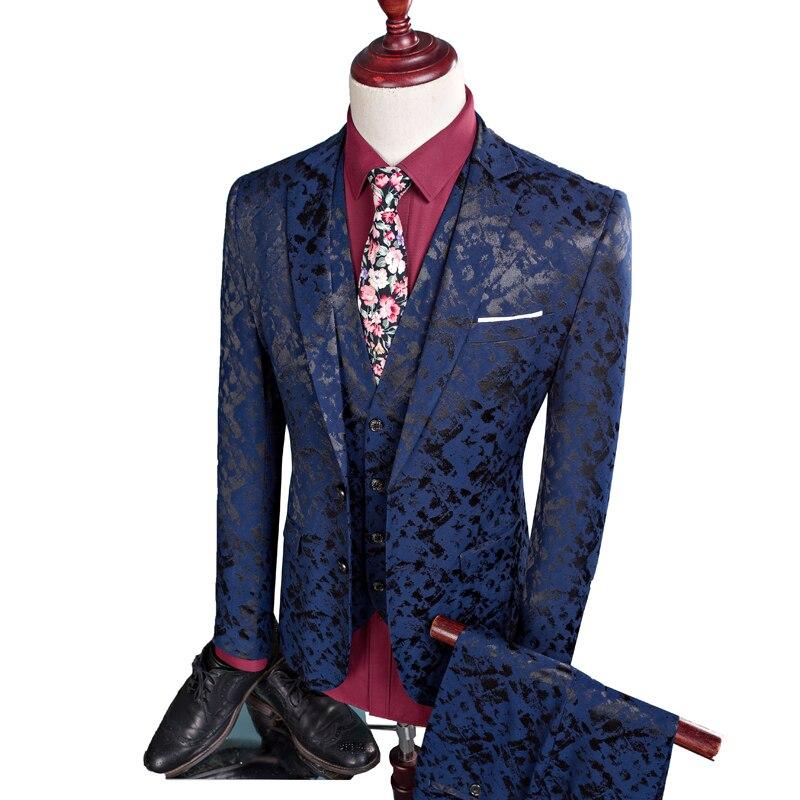 (Blazer+ Vest + Pants) Men's Suit Three-Piece Luxury Jacquard High-End Plus Size Suit Suit Banquet Men's Business Casual Blazer