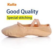 KULLA Hot Sale Wholesale Unisex Canvas Soft Slippers Dance Practice Ballet Shoes Child Flat Leather Heel For Children Women Girl