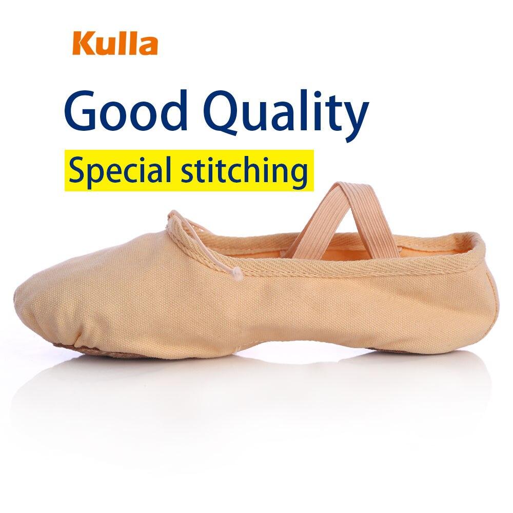 KULLA Venta Caliente Al Por Mayor Unisex Lienzo Zapatillas de Danza Práctica Zapatos de Ballet Niño de Cuero Plano Talón Para Niños Mujeres niña