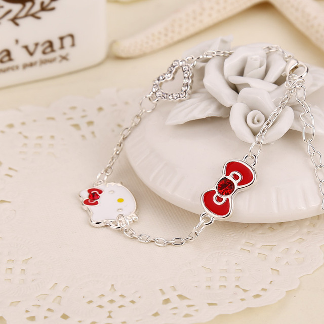 Hello kitty crystal bracelets women bangle imitation diamond hello kitty crystal bracelets women bangle imitation diamond pendant siver hand chain female jewelry girl accessories mozeypictures Gallery