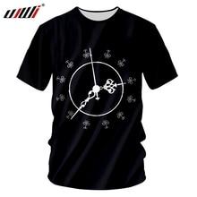 UJWI Cute Alarm Clock Mens 3D Printed O Neck Tshirt Black White Casual Trend Man Oversized Loose Clothing Tee Shirt