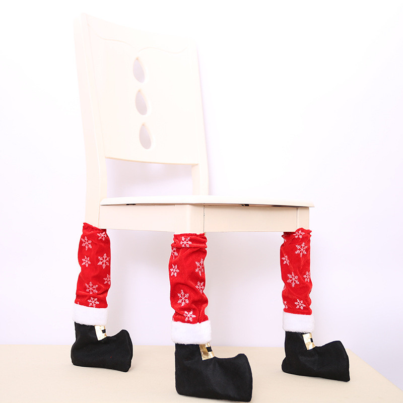 Fun Christmas Table Decorations: 4Pcs/Lot Funny Table Leg Chair Foot Covers Table Decor New