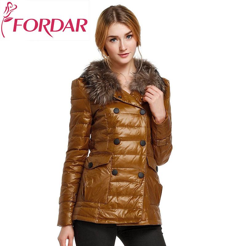 Fashion Slim Womens Winter Warm Cotton Paddedd Coats 2018 New Double Breasted Fur Collar ...