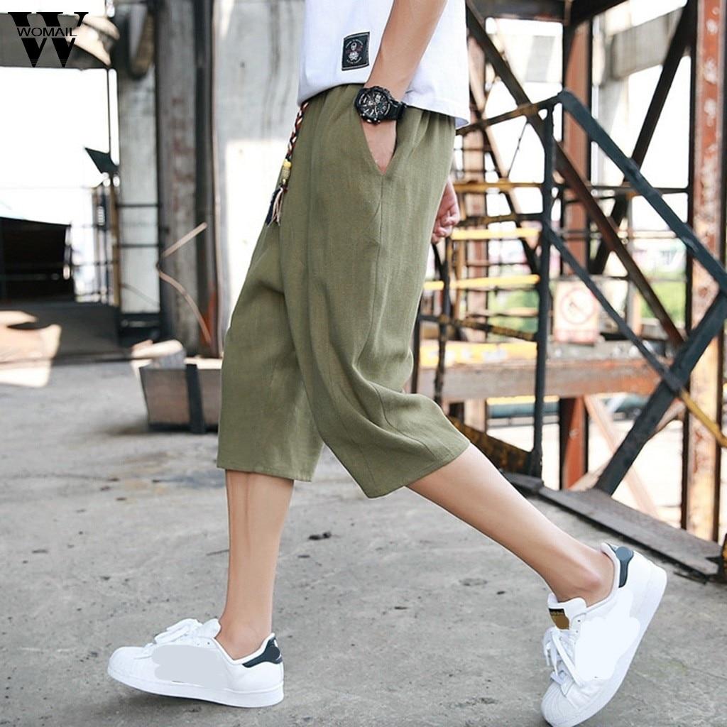 Mens Pants Linen Joggers-Trouser Track Elastic Fitness-Workout Outdoor Sport Male Haren