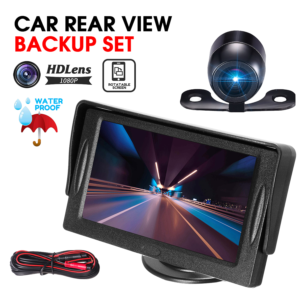 4.3 Inch TFT LCD Car Monitor Sensor Mirror System Reversing Parking Assistant Camera DVD VCR Rear View Cam Kit for Truck