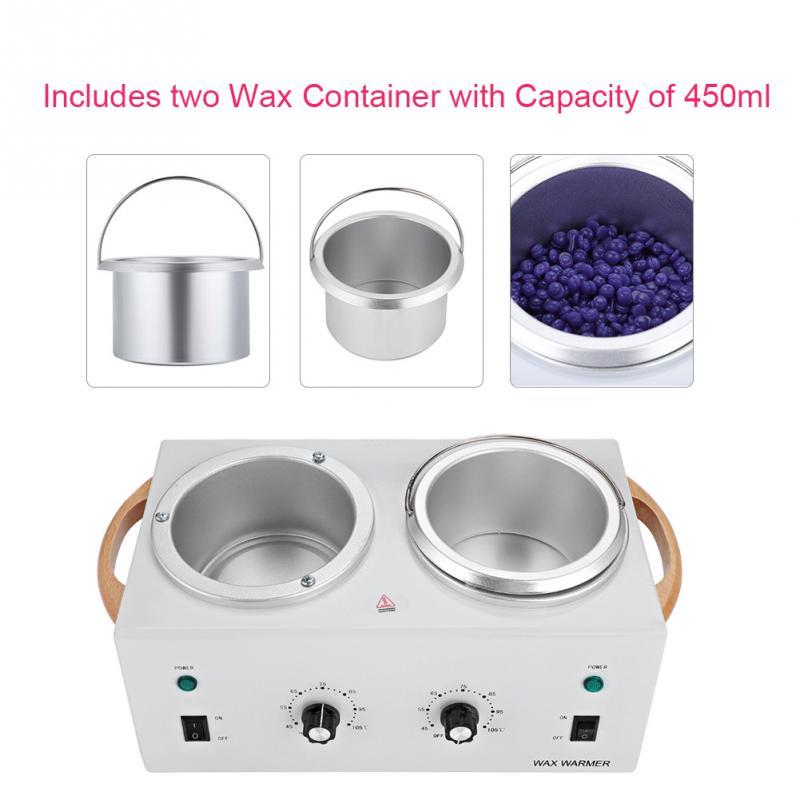 цена на Hot Paraffin Wax Warmer Salon Spa Dual Pot Depilatory Waxing Heater Machine 220V