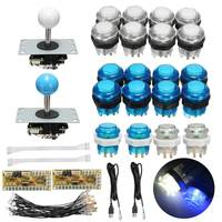 Arcade Joystick DIY Kit Parts With LED Push Button Joystick Zero Delay USB Encoder Cables Game