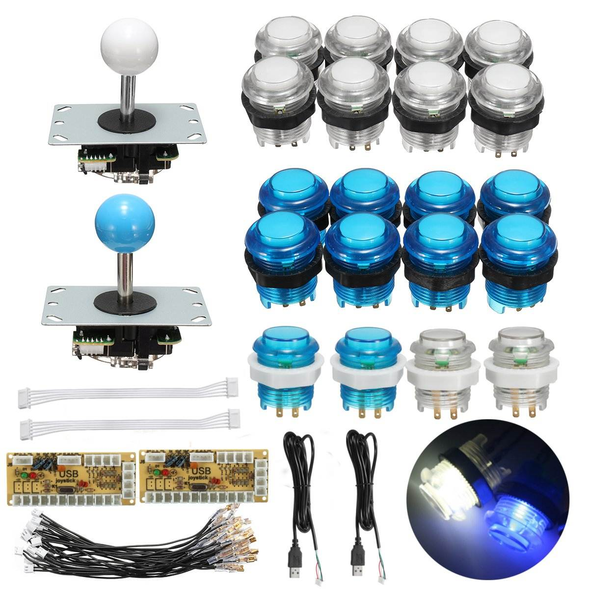 Arcade Joystick DIY Kit Parts With LED Push Button + Joystick + Zero Delay USB Encoder + Cables Game Joystick Arcade DIY Kits arcade parts bundles kit with 60 in 1 board power supply joystick push button microswitch harness glass clips coin door camlock
