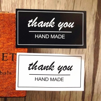 80pcs/lot Rectangle Handmade Black & White Thank you  Baking Seal Sticker For Party Favor Gift Bag Candy Box