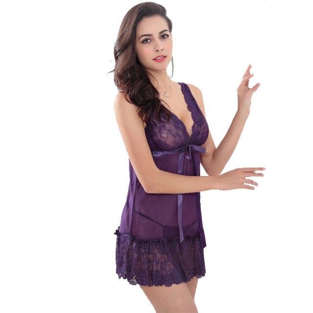 Hot Women Nighty Nightwear Lace Nightgown Sleepwear Dress 3