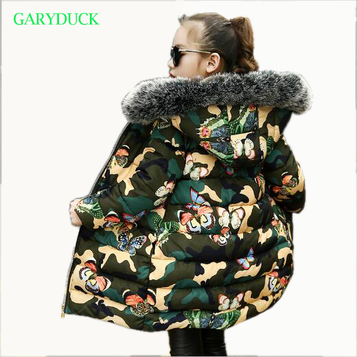 Girls fur collar hooded coat 2018 new winter girls camouflage Cotton-padded Outerwear fashion Kids butterfly print thick jacket new wadded winter jacket women cotton short coat fashion 2017 girls padded slim plus size hooded parkas stand collar coat cm1604