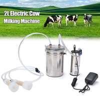 2L 0.5 Gal 23W Electric Milker Bucket Cow Milking Machine Stainless Steel Barrel 75Kpa Cow Milking Machines 100 240V