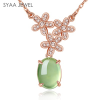 Sterling Silver 925 Jewelry Sieraden Woman S Necklaces Pendants Gemstone Natural Emerald Gravel Stone Pendant Send