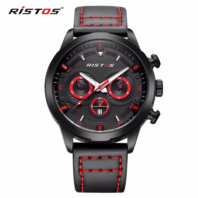 RISTOS Top Brand Sport Men Watch Fashion Date Military Leather Quartz Watches Waterproof Calendar Racing Style Wristwatch Black