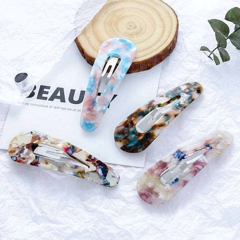 Korean Fresh Style Rectangle BB Hair Clips Women Girls Colored Leopard Marble Texture Acetate Hairgrip Side Bangs Snap Barrettes in Women 39 s Hair Accessories from Apparel Accessories