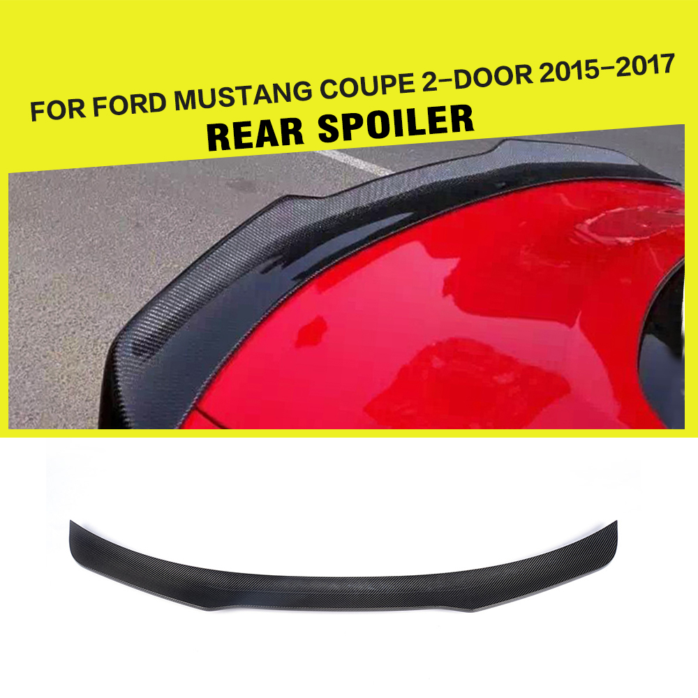 Car-Styling Carbon Fiber Racing Rear Trunk Spoiler Lip Wing for Ford Mustang GT Coupe 2015 - 2017 body kits front bumper parts rear diffuser car accessories for ford mustang coupe 2015 2017