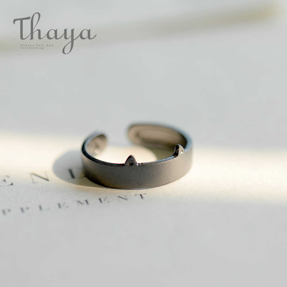 Thaya สีดำสีขาวแมวหู 100% S925 เงินคู่แหวนหญิงเครื่องประดับทำด้วยมือสำหรับผู้หญิง