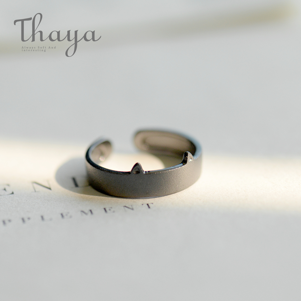 Thaya Black White Cat Ear 100% S925 Sterling Silver Couple Ring Female Fine Jewelry Simple Fashion Handmade for WomenThaya Black White Cat Ear 100% S925 Sterling Silver Couple Ring Female Fine Jewelry Simple Fashion Handmade for Women