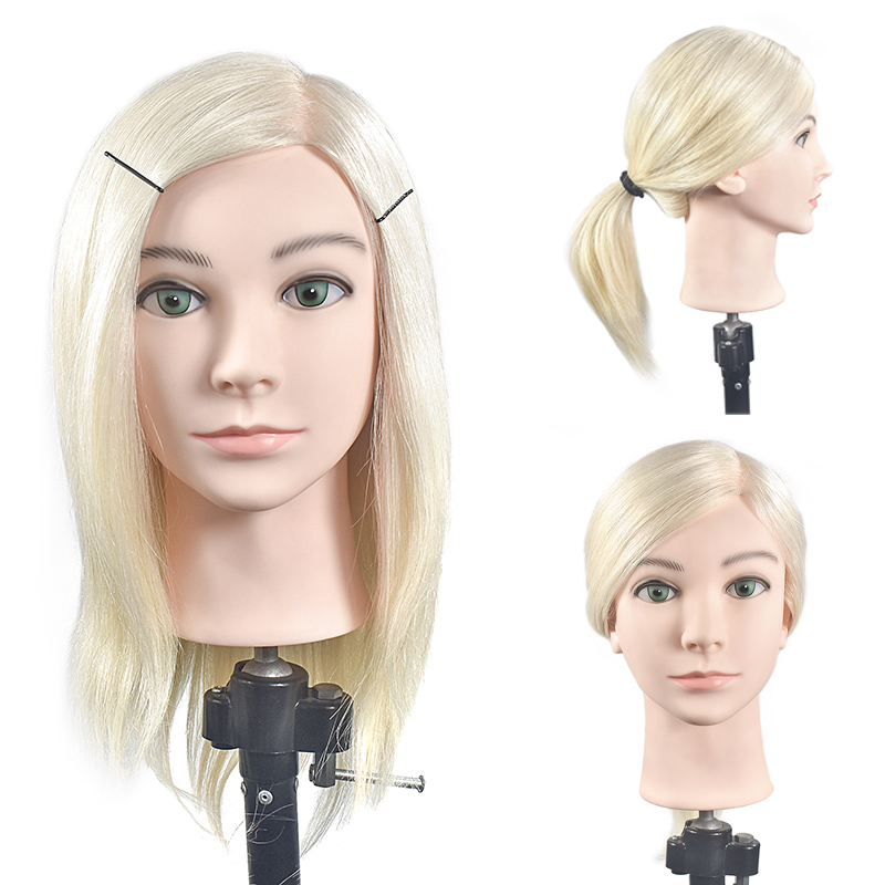 Professional training head with real human hairs can be curled practice Hairdressing mannequin dolls Styling maniqui with holder